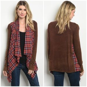 Sweaters - Red Brown Checkered Cardigan